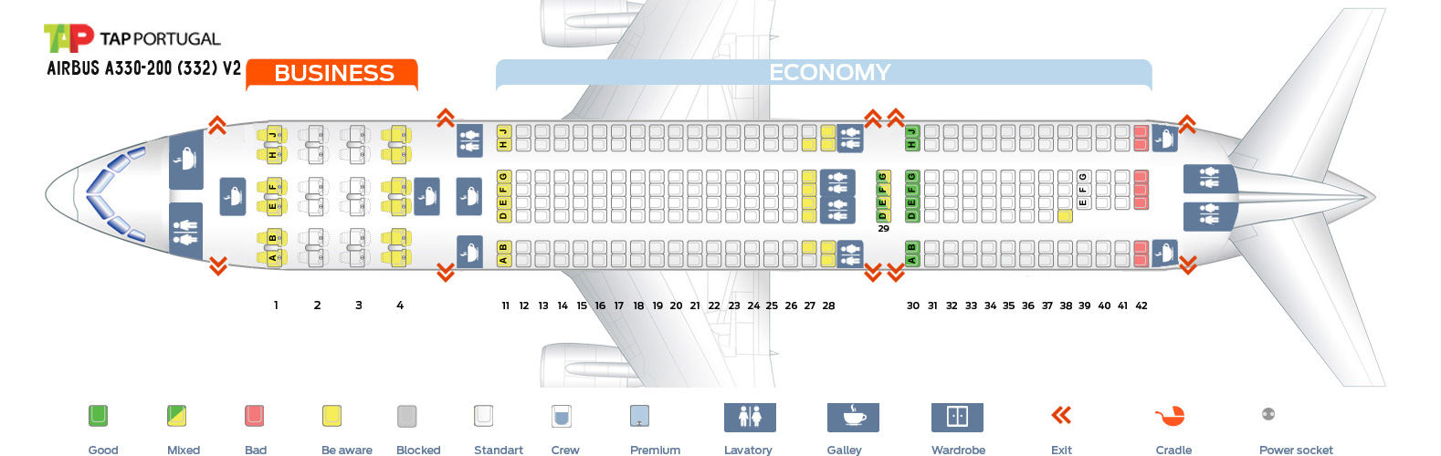 Seat Map Airbus A330-200 V2 Tap Portugal