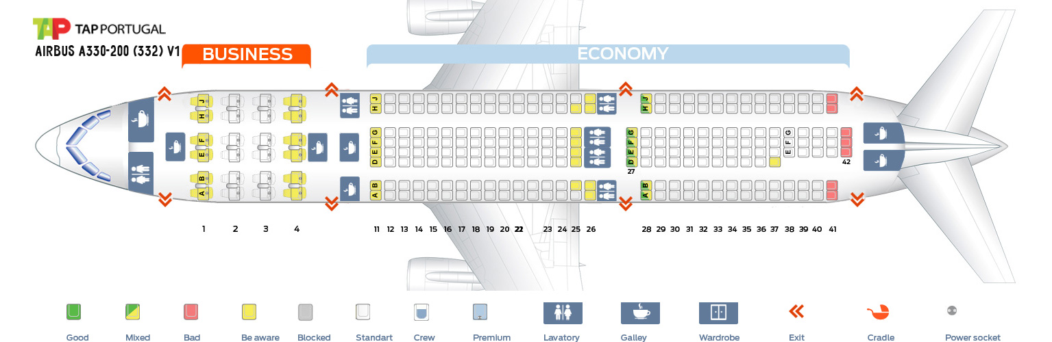 Seat Map Airbus A330-200 V1 Tap Portugal