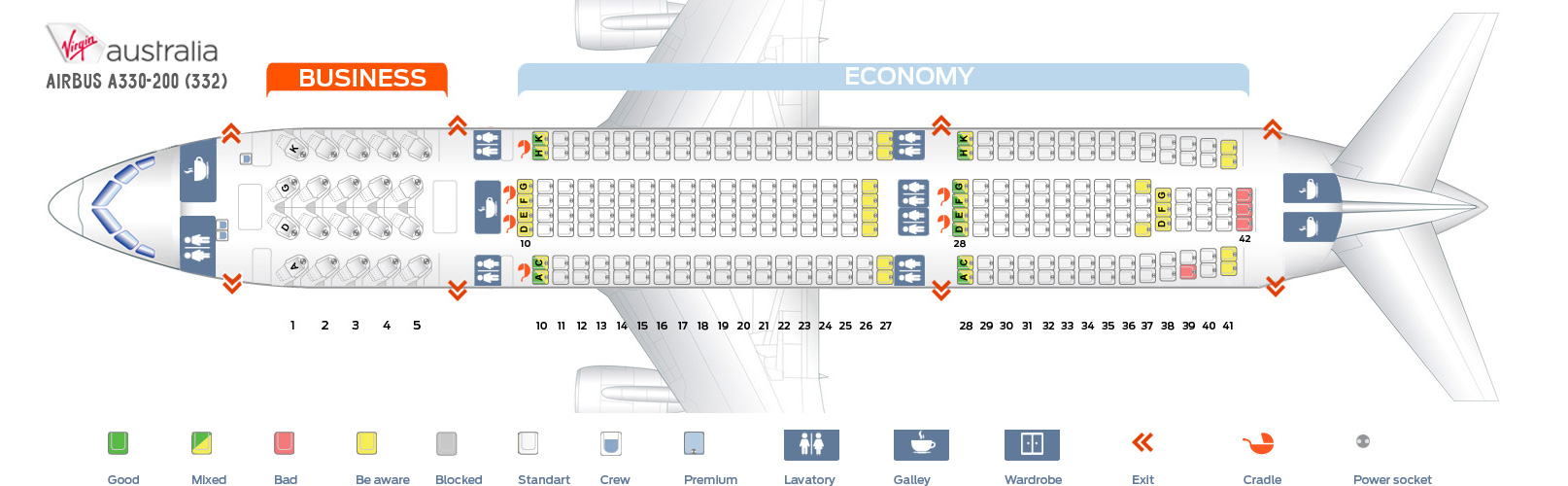 Seat Map Airbus A330-200 Virgin Australia