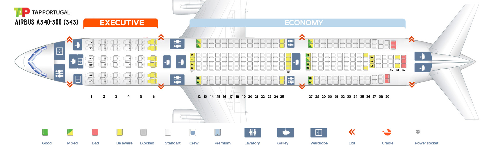 Seat Map Airbus A340-300 Tap Portugal