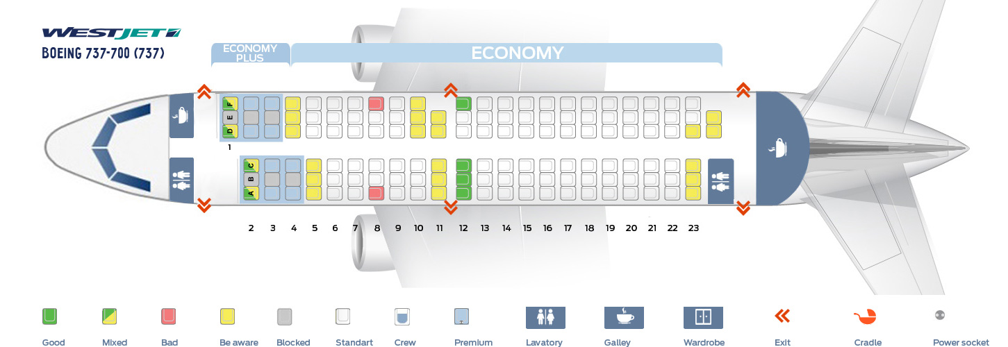 Seat map Boeing 737-700 WestJet  Best seats in the plane