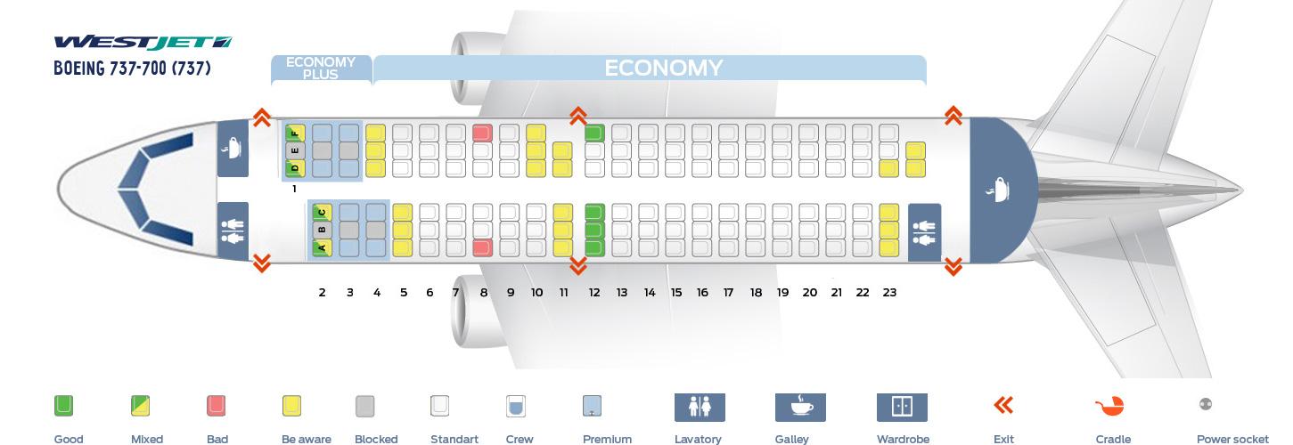 Seat Map Boeing 737-700 WestJet
