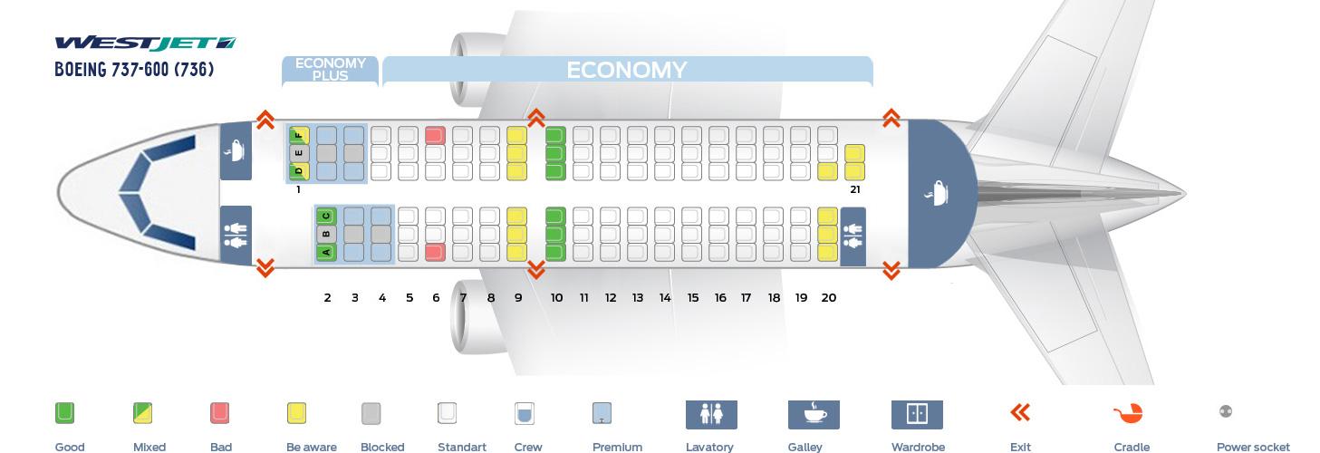 Seat Map Boeing 737-600 WestJet