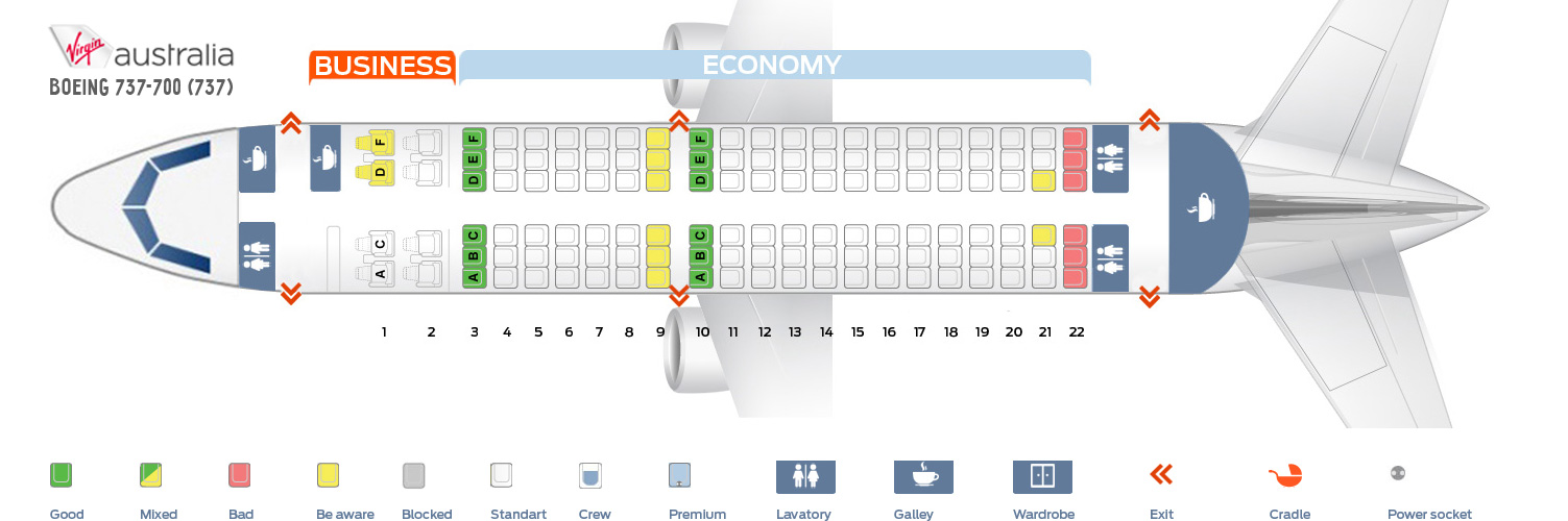 Seat Map Boeing 737-700 Virgin Australia