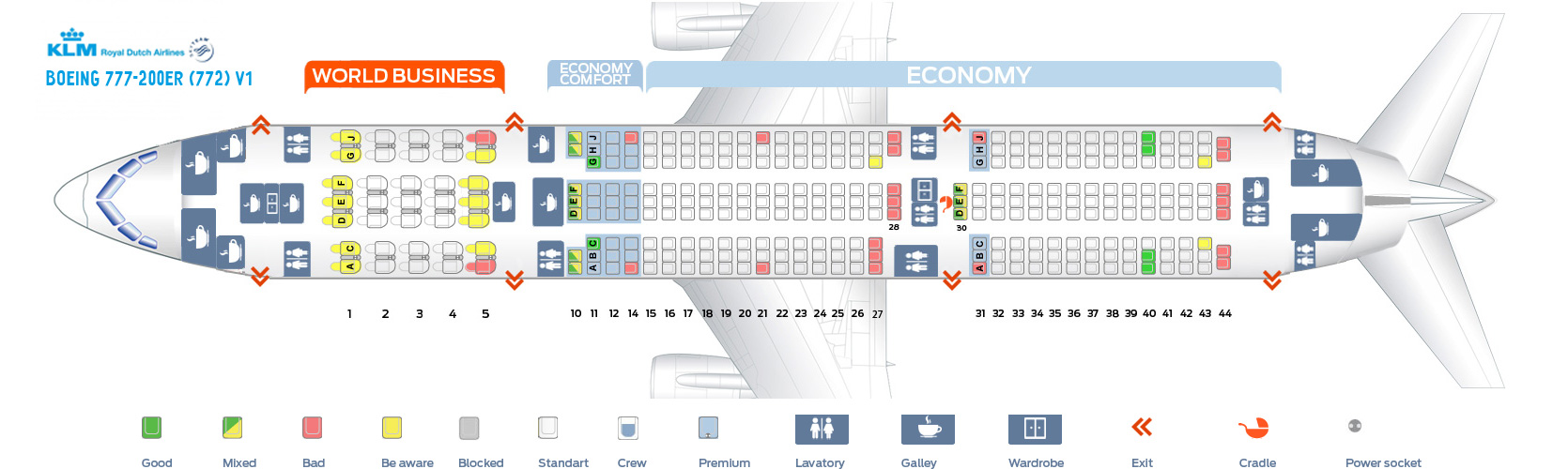 Seat Map Boeing 777-200ER V1 KLM Airlines