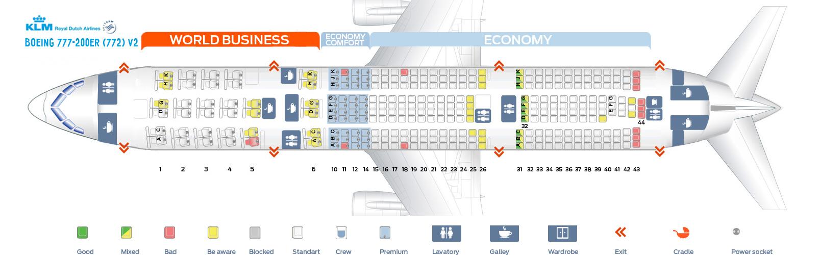 Seat Map Boeing 777-200ER V2 KLM Airlines