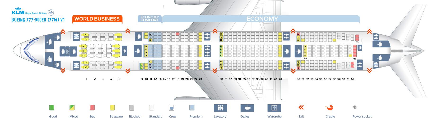 Seat Map Boeing 777-300ER V1 KLM Airlines