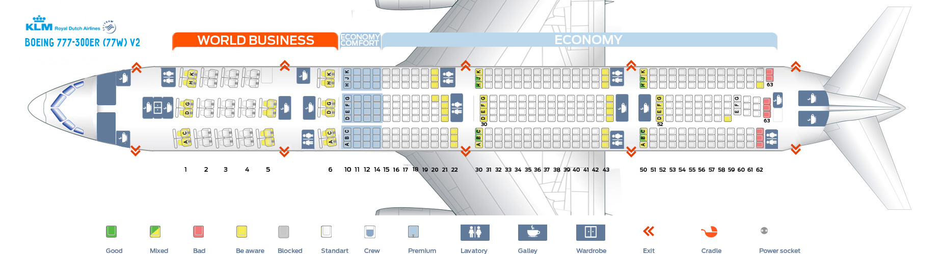 Seat Map Boeing 777-300ER V2 KLM Airlines