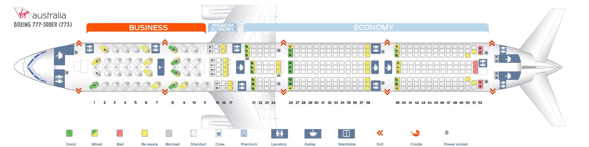 Seat Map Boeing 777-300ER Virgin Australia