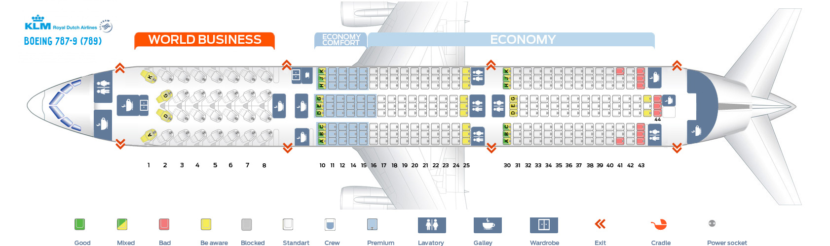 Seat Map Boeing 787-9 KLM Airlines