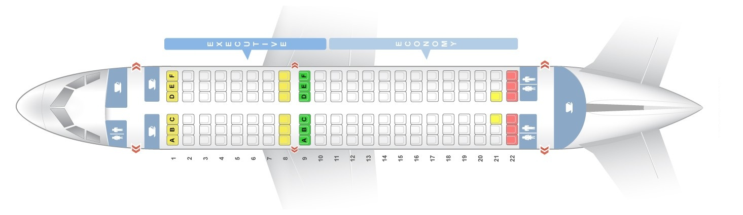 Seat map Airbus A319-100 TAP Portugal. Best seats in the plane
