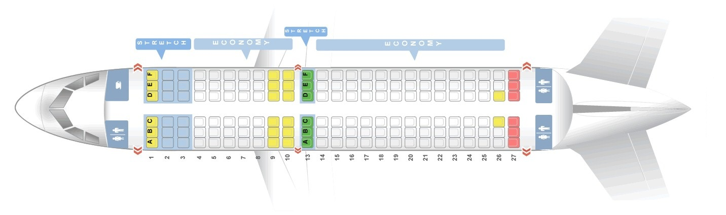 Seat map Airbus A319-100 Frontier Airlines. Best seats in the plane