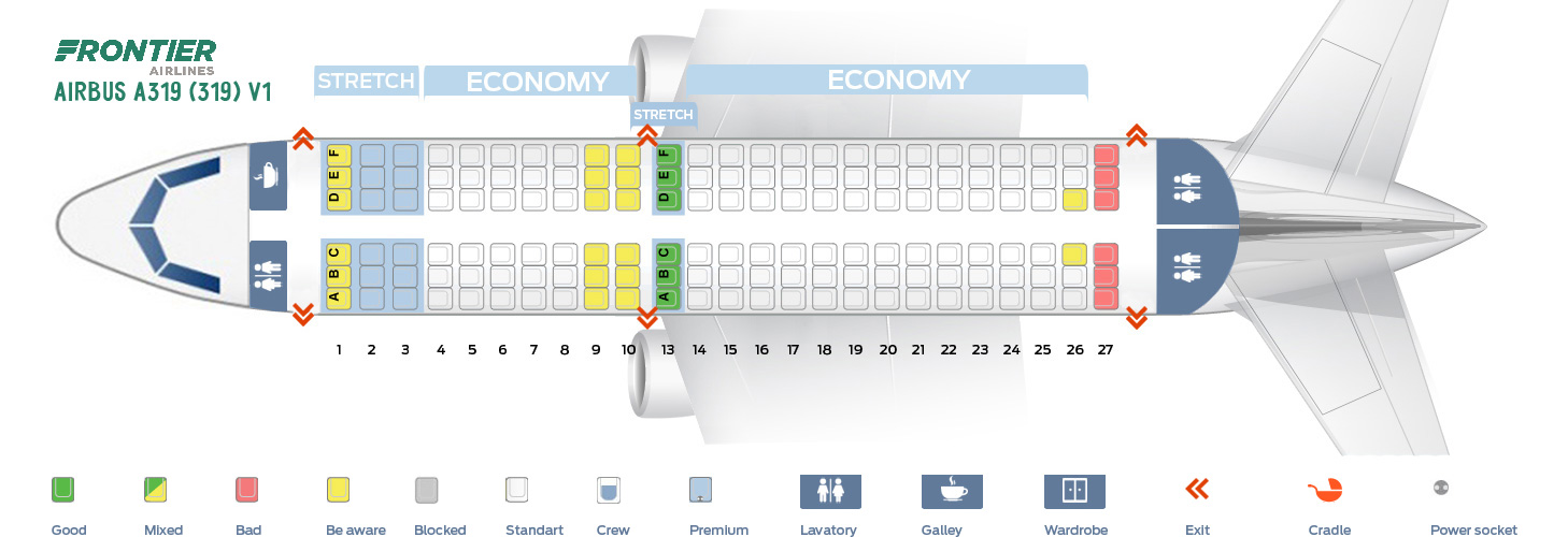 Airbus A319 Seat Map Seat map Airbus A319 100 Frontier Airlines. Best seats in the plane