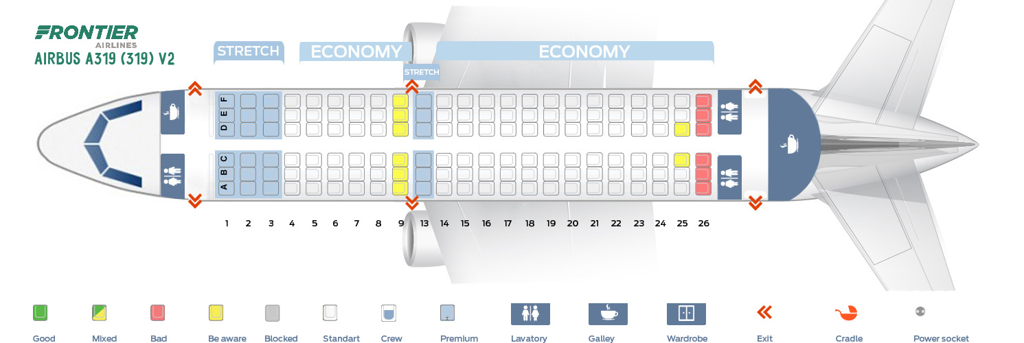 Seat Map Airbus A319-100 V2 Frontier Airlines