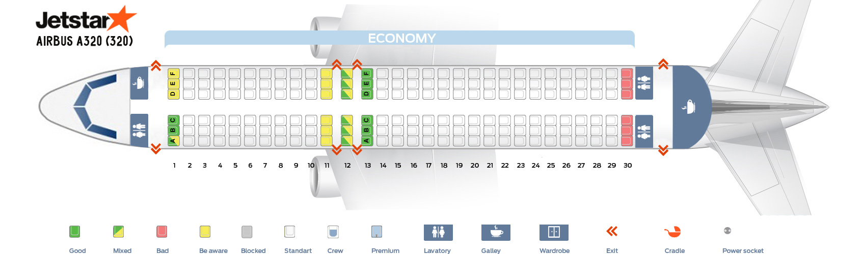 Seat Map Airbus A320-200 Jetstar Airlines