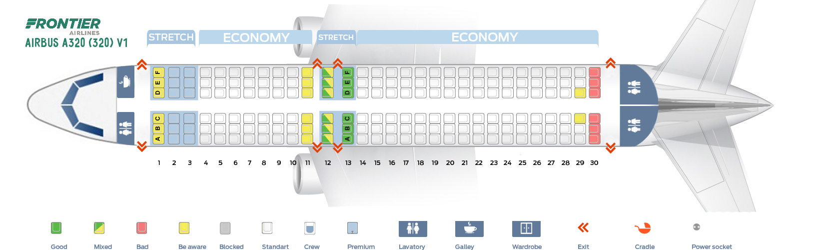 Seat Map Airbus A320-200 V1 Frontier Airlines
