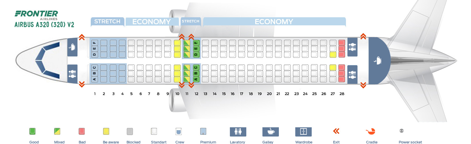 Seat Map Airbus A320-200 V2 Frontier Airlines