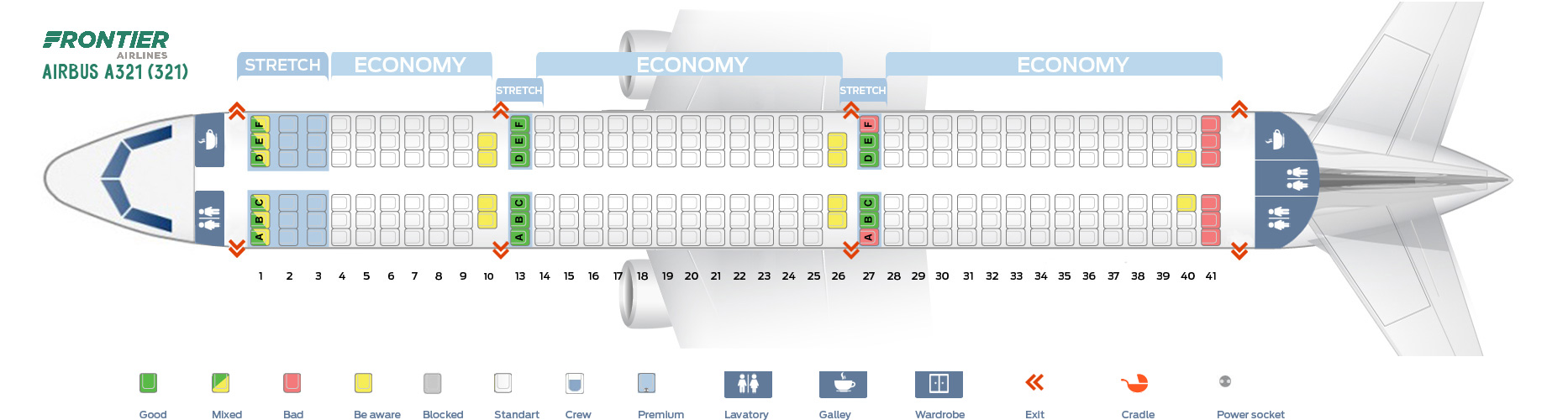 Seat Map Airbus A321-200 Frontier Airlines