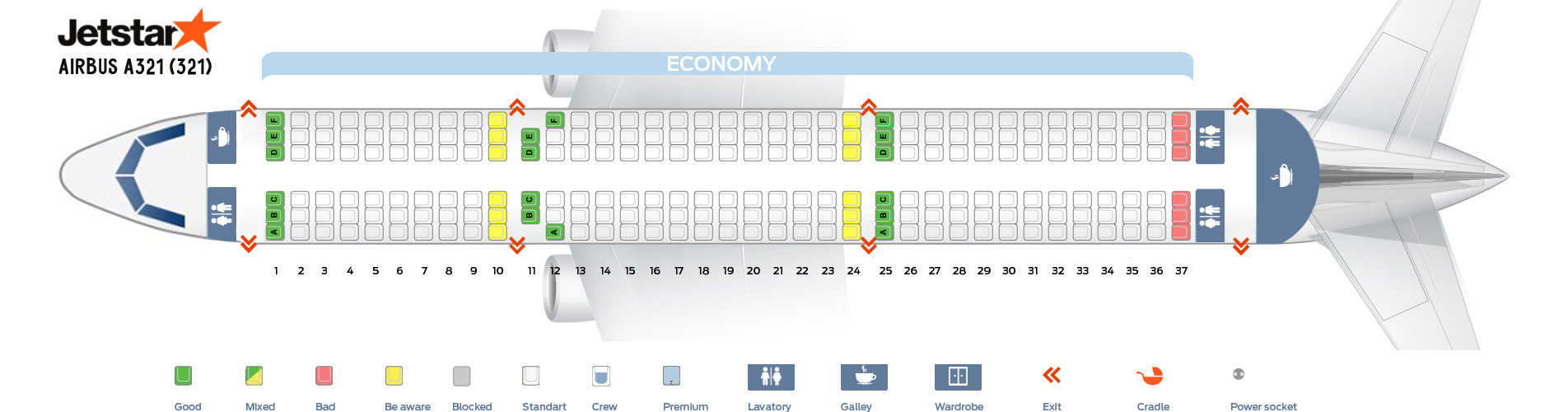 Seat Map Airbus A321-200 Jetstar Airlines