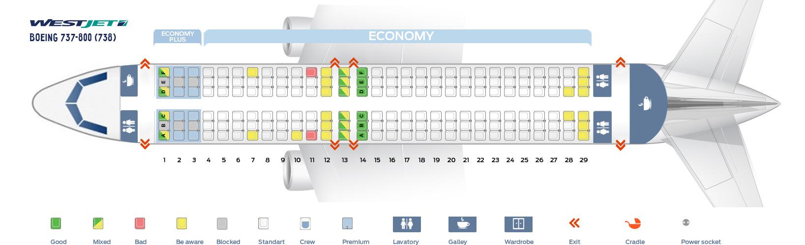 Seat Map Boeing 737 800 Westjet Best Seats In The Plane