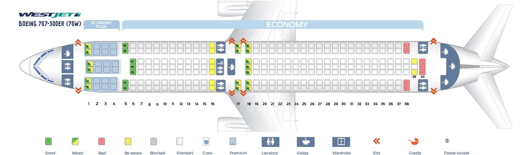 Seat Map Boeing 767-300ER WestJet