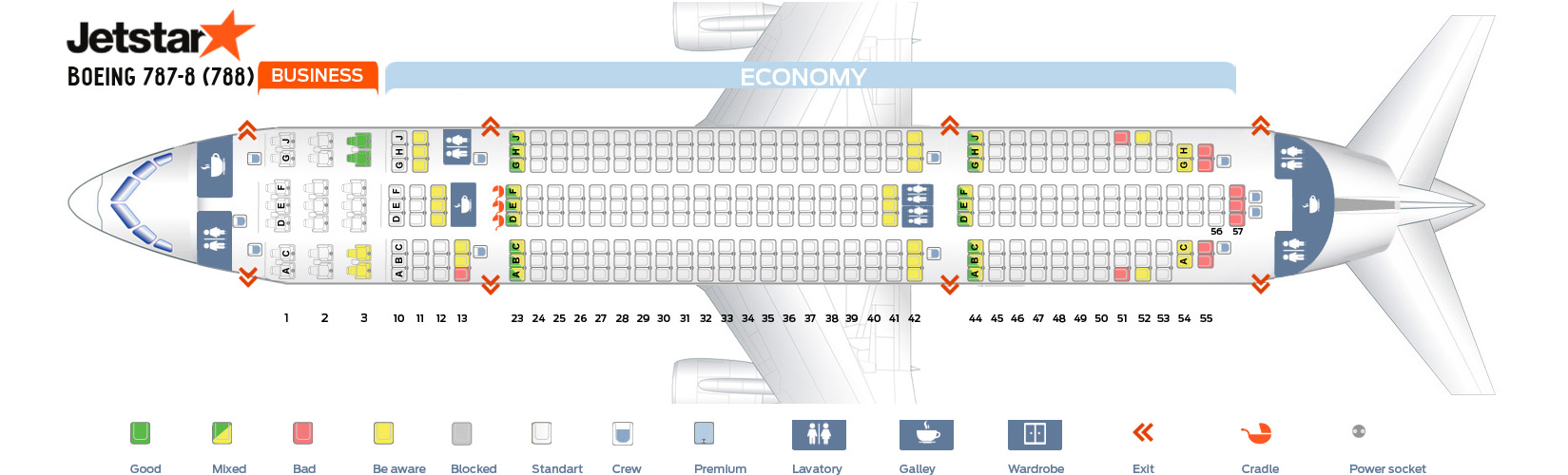 Seat Map Boeing 787-8 Jetstar Airlines