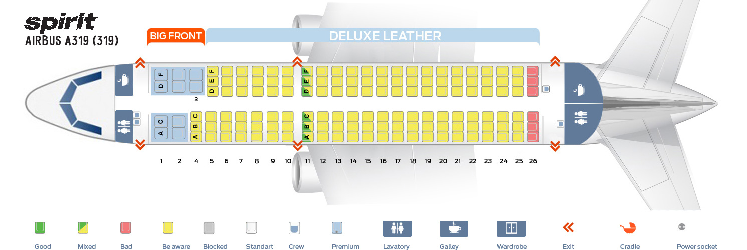 Seat Map Airbus A319-100 Spirit Airlines