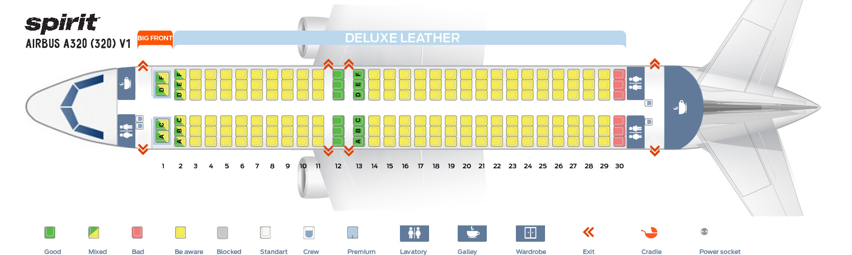 Seat Map Airbus A320-200 V1 Spirit Airlines