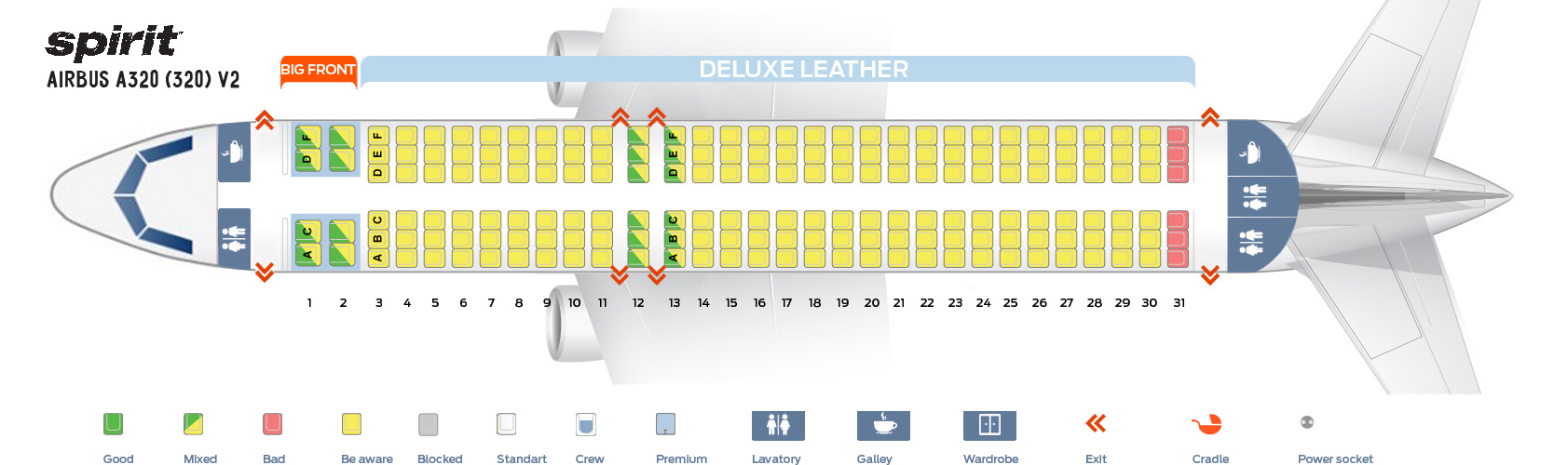 Seat Map Airbus A320-200 V2 Spirit Airlines