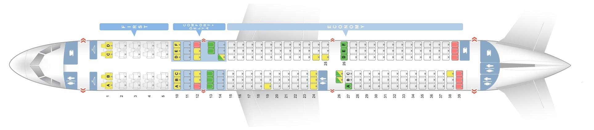 "Seat map Airbus A321-200 ""Delta Airlines"". Best seats in the plane"