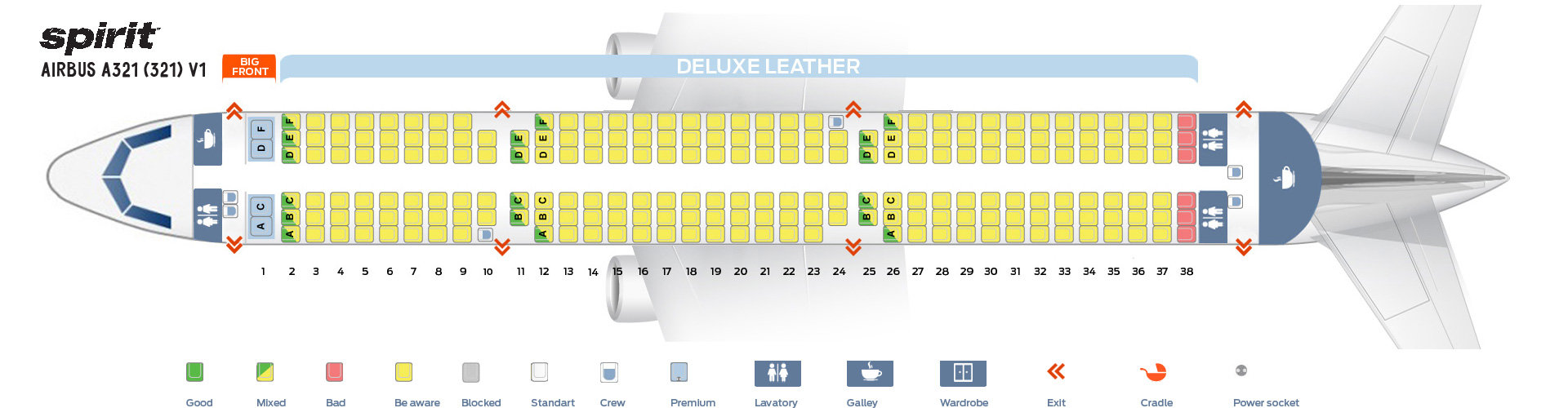 Seat Map Airbus A321-200 V1 Spirit Airlines