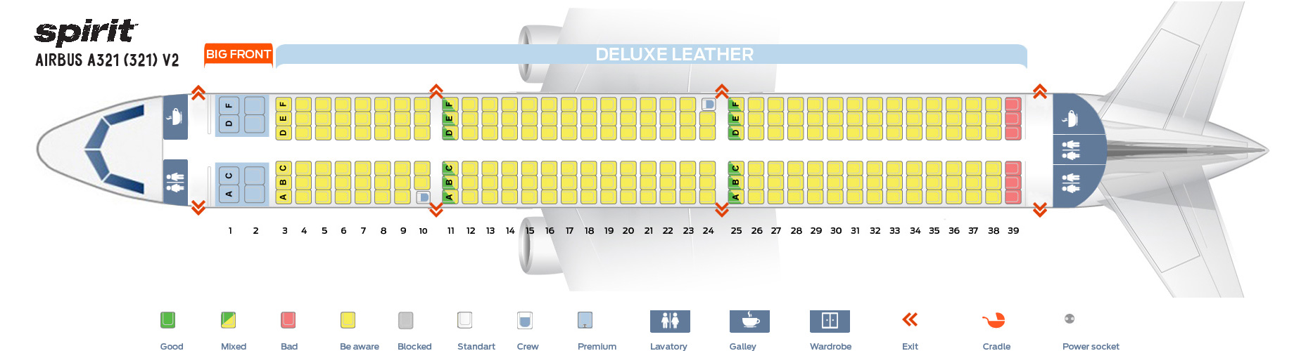 Seat Map Airbus A321-200 V2 Spirit Airlines