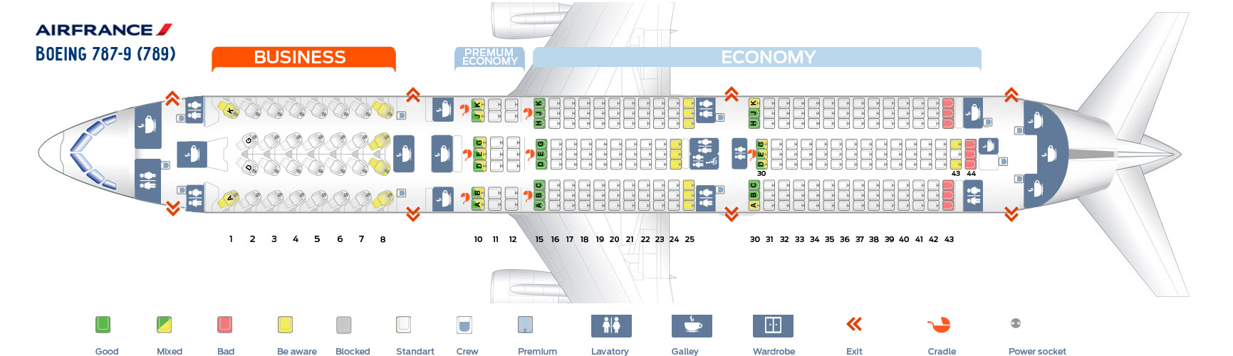 Seat Map Boeing 787-9 AirFrance