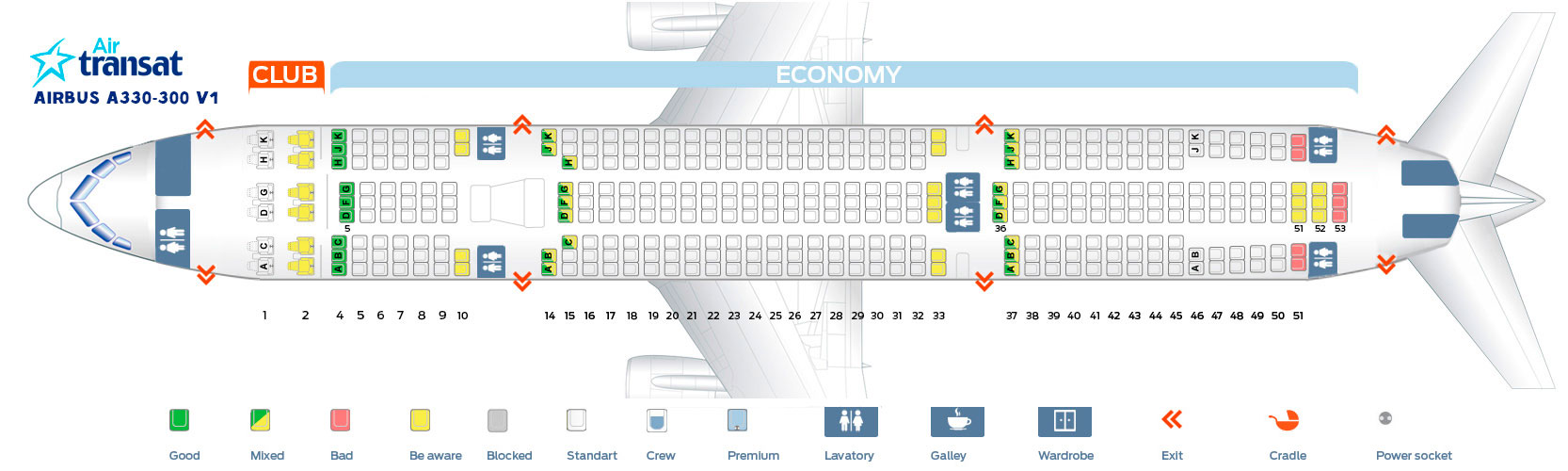 Seat map Airbus A330-300 V1 Air Transat