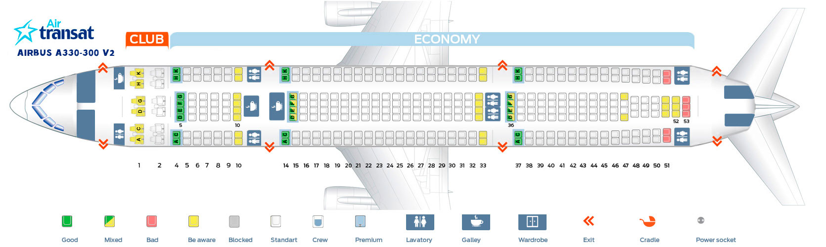Seat map Airbus A330-300 V2 Air Transat