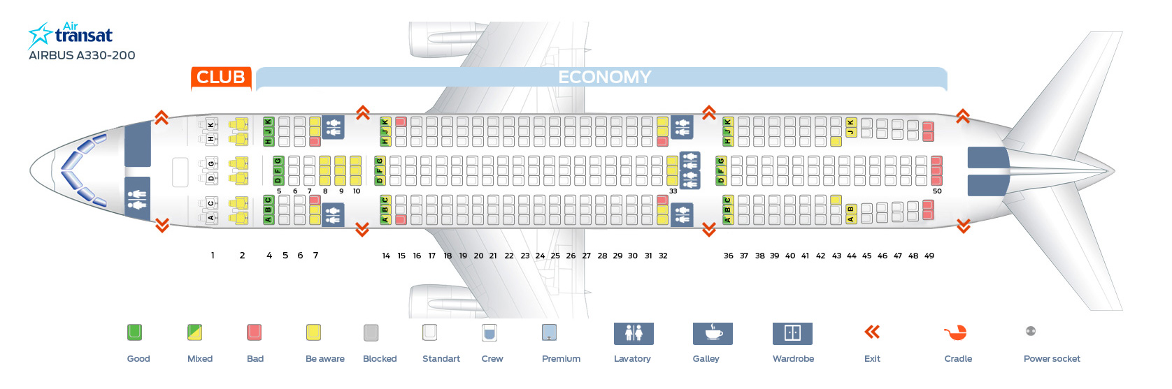 Seat map Airbus A330-200 Air Transat