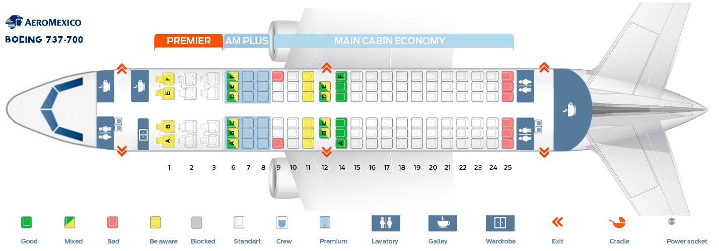 Seat map Boeing 737-700 Aeromexico