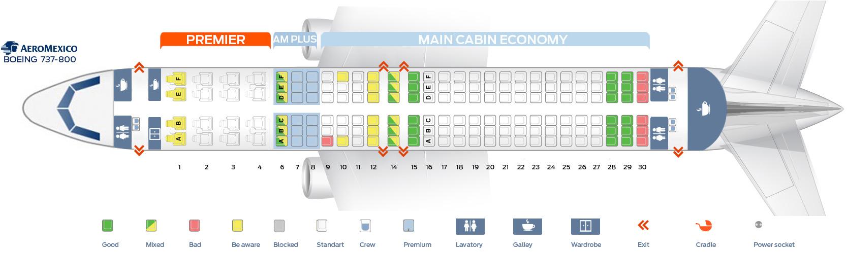Seat map Boeing 737-800 Aeromexico