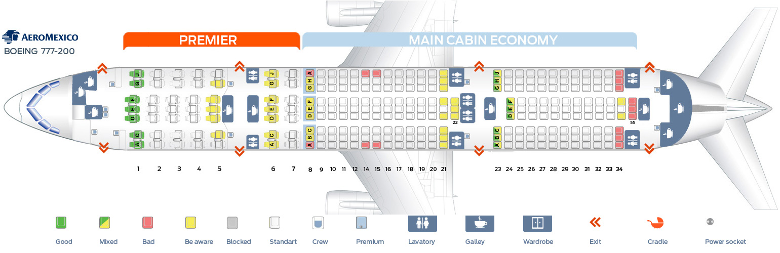 Seat map Boeing 777-200 Aeromexico