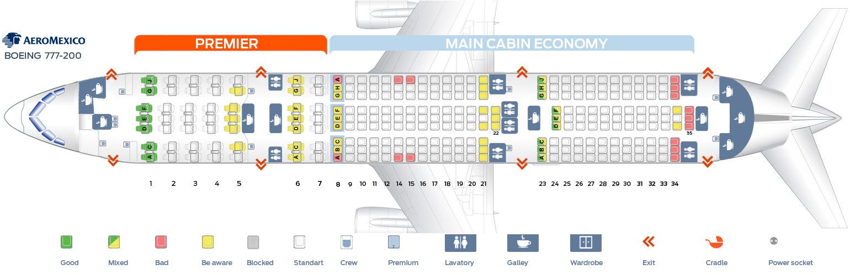 Seat map Boeing 777-200 Aeromexico