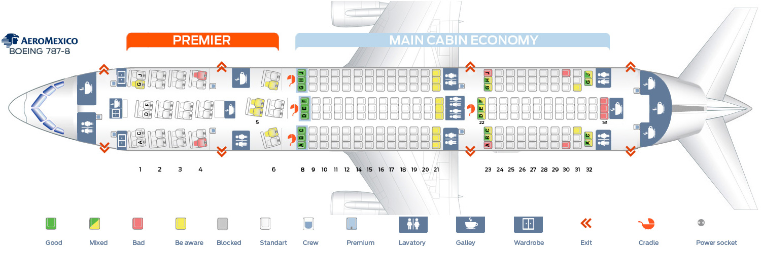 Seat map Boeing 787-8 Aeromexico