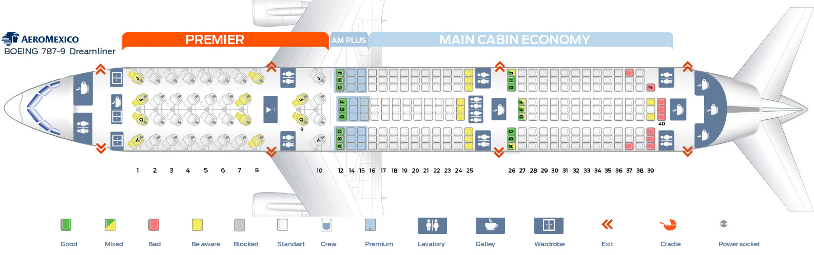 Seat map Boeing 787-9 Aeromexico