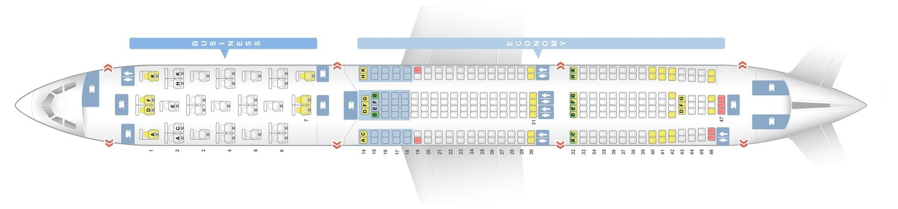 "Seat map Airbus A330-300 ""Brussels Airlines"". Best seats in the plane"