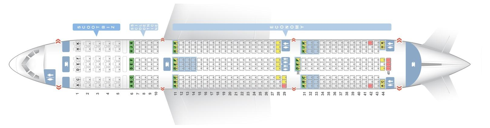 """Seat map Boeing 787-9 """"Scoot Airlines"""". Best seats in the plane"""