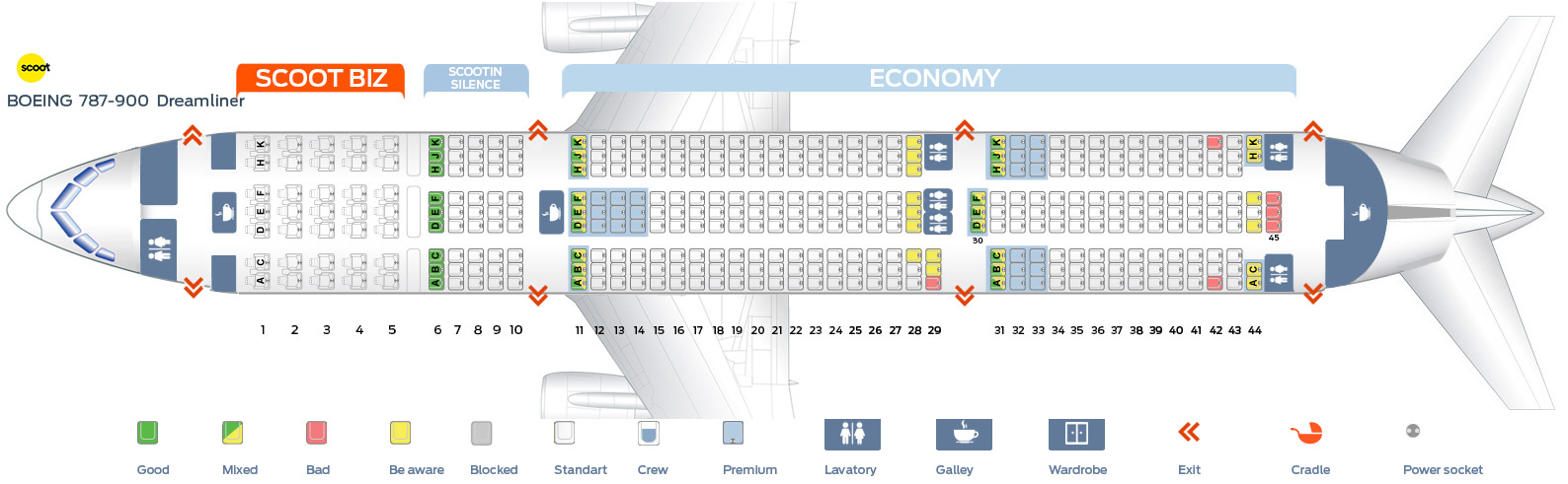 Seat map Boeing 787-900 Scoot Airlines