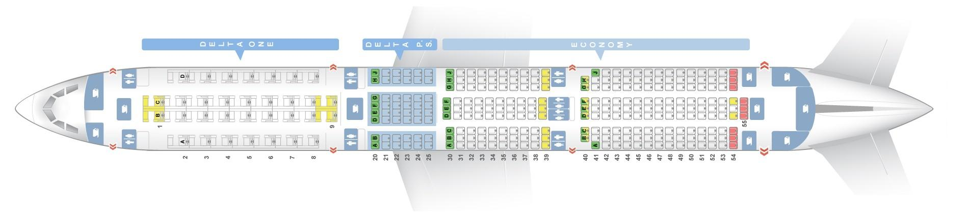 Seat Map Airbus A350 900 Delta Airlines Best Seats In The Plane