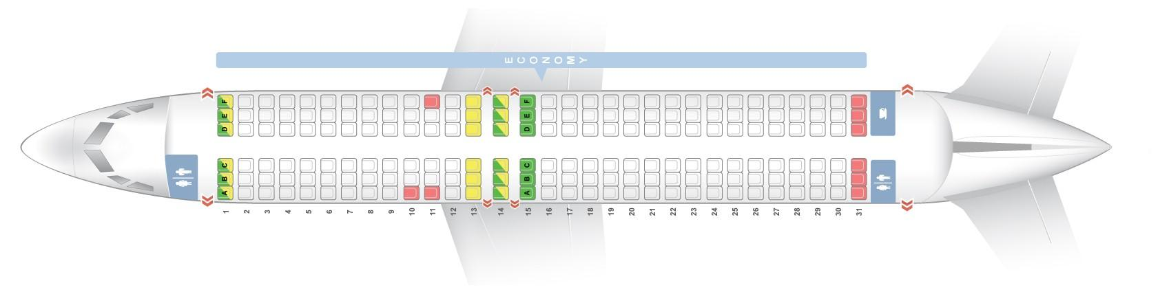 """Seat map Boeing 737-800 """"Norwegian Air Shuttle"""". Best seats in the plane"""