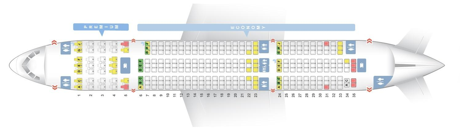 """Seat map Boeing 787-8 """"Norwegian Air Shuttle"""". Best seats in the plane"""