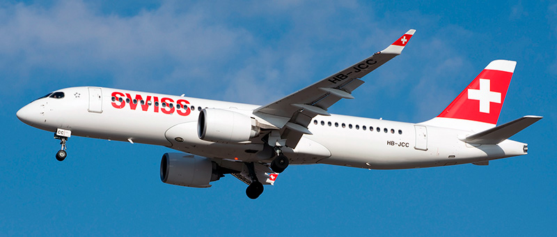 Airbus A220-300 Swiss Airlines. Photos and description of the plane