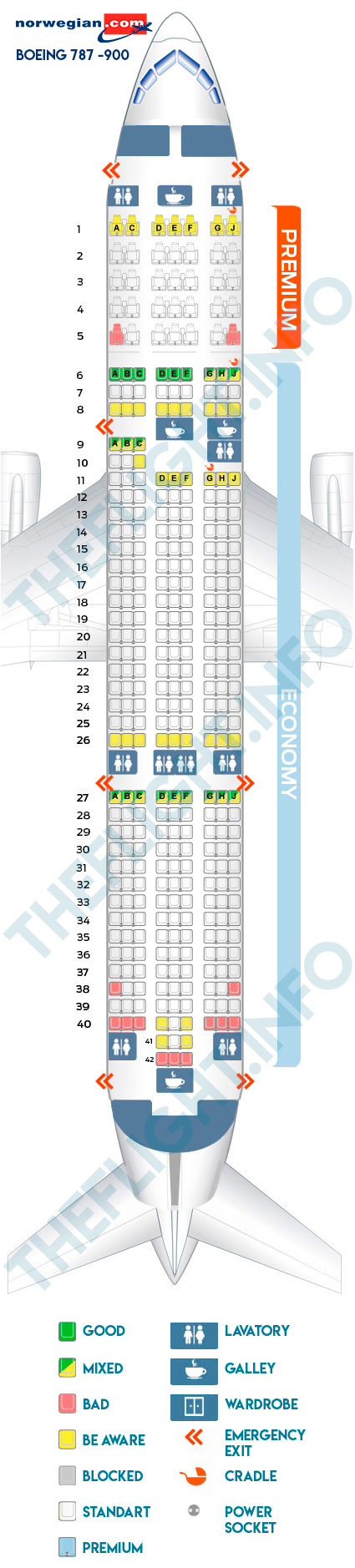 Seat map Boeing 787-900 Norwegian